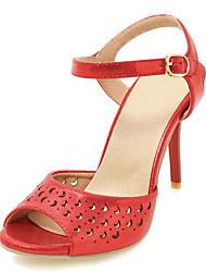 Damen-Sandalen-Outddor Kleid-Kunstleder-Stöckelabsatz-Club-Schuhe Loch Schuhe-Gold Silber Purpur Rot
