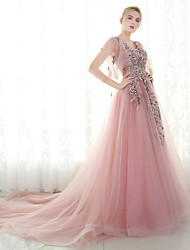 Ball Gown V-neck Court Train Tulle Formal Evening Dress with Beading Lace by MMHY