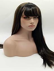 noir long droit à des perruques synthétiques de couleur marron pour perruques de fête