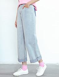Sign jeans female wide leg pants female Korean students in nine high waist loose straight curling