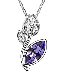 Women's Pendant Necklaces Crystal Flower Chrome Flower Style Jewelry For Anniversary Congratulations Gift 1pc