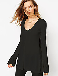 2015 Autumn new fashion loose horn sleeve shirt OL wild Slim A pendulum long-sleeved T-shirt