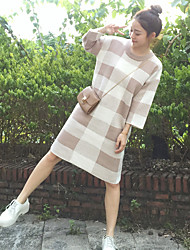 Sign Dongkuan loose big yards was thin eighths sleeve plaid wool dress sweater dress women