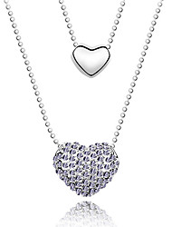 Women's Pendant Necklaces Crystal Heart Chrome Unique Design Love Heart Adorable Simple Style Jewelry For Congratulations Casual 1pc