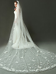 Wedding Veil One-tier Cathedral Veils Pencil Edge Organza Ivory