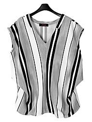 Damen Gestreift Einfach Ausgehen Lässig/Alltäglich T-shirt,Tiefes V Sommer Kurzarm Kunstseide Dünn