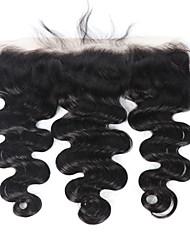 cheveux humains vierges brazilian vague lâche 134 Fermeture frontale en dentelle avec des cheveux de bébé naturel noir 8 -18 cheveux
