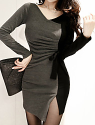 Women's Going out Simple Bodycon Dress,Patchwork V Neck Asymmetrical Long Sleeve Rayon Spring Low Rise Micro-elastic Medium