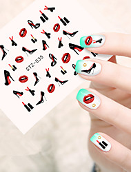 10pcs/set Fashion Nail Art Water Transfer Decals Fashion High Heels Shoes Charming Red Lipstick Design Nail Art DIY Beauty Sticker STZ-035