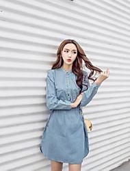 q signe japon et la corée du sud printemps mince robe en jean cordon de serrage simple boutonnage