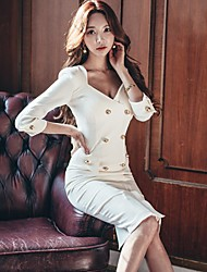 New Korean Women temperament ladies Sleeve Slim V-neck long section of double-breasted package hip dress