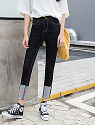 2017 spring large size curling waist jeans female Korean was thin elastic tight elastic waist long pants cuffs