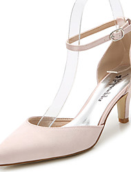Feminino-Sandálias-D'Orsay Tira no Tornozelo Sapatos clube-Salto Agulha-Branco Preto Rosa Claro Azul Real-Seda-Casamento Ar-Livre