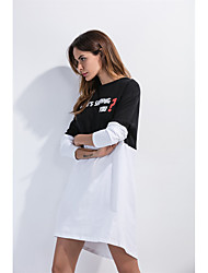 Sign outer mold Europe short in front long dovetail black and white mixed colors letters printed long-sleeved dress