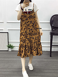 Real shot was thin straps loose chiffon skirt long section of wild floral dress student