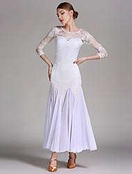 Ballroom Dance Outfits Women's Performance Chiffon Satin Lace Milk Fiber Splicing 2 Pieces 3/4 Length Sleeve Natural Skirt Leotard