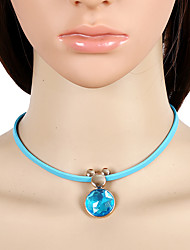 Women's Choker Necklaces Crystal Gemstone Crystal Leather Animal Shape Drop Adorable Euramerican Fashion Red Light Blue JewelryParty