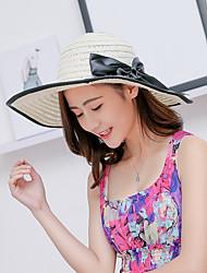 Mujer Verano Bonito Casual Lino Sombrero de Paja Sombrero para el sol,Un Color
