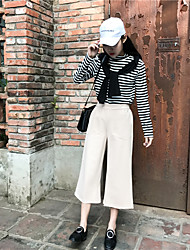 Spring and summer was thin waist thickened woolen seventh straight jeans loose retro wide leg pants female pantyhose