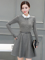 2017 Sign temperament ladies new winter women's fashion in the long section Slim A word skirt long-sleeved dress
