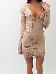 Women's Going out Party Sexy Bodycon Dress,Embroidered Deep V Above Knee Long Sleeve Others Summer Mid Rise Micro-elastic Thin