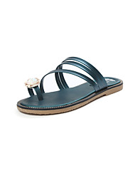 Sandals Summer Comfort PU Casual Flat Heel Rhinestone