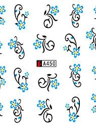 10pcs/set Summer Nail Art Water Transfer Decals Fashion Sticker Beautiful Light Blue Flower Vine Nail Art Design A450