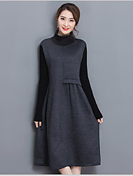 Sign spring bottoming new winter knit dress thickening Slim was thin long-sleeved dress and long sections