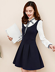 Sign 2017 spring new bow fake two long-sleeved dress preppy collar pleated skirt was thin