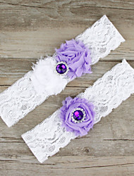 2pcs/set Lavender And White Satin Lace Chiffon Beading Wedding Garter