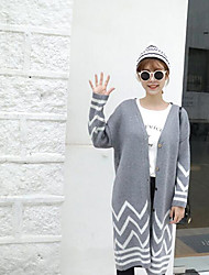 Sign; female cardigan sweater long section of the new women's striped blouse buttoned tide Korean version