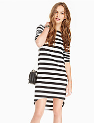 2779 # 2017 new European and American classic striped short in front long-sleeved round neck dress sweet dress in women