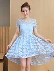 Before and after really making new perspective lace short-sleeved dress summer short grow up swing