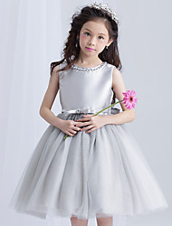 Ball Gown Short / Mini Flower Girl Dress - Cotton Satin Tulle Jewel with Bow(s) Pearl Detailing Sash / Ribbon
