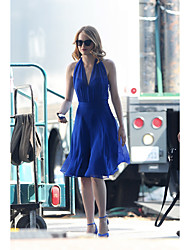 City Philharmonic summer new female host with paragraph Mia navy blue dress Emma Stone star