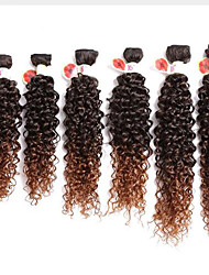 ombre brown synthetic kinky curly hair bundles 6pcs/pack synthetic deep curly ombre purple curly hair bundles cheap price synthetic jerry curl weave