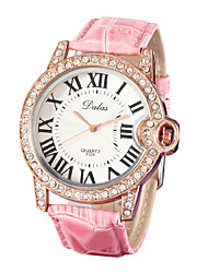 Women's Diamante Round Dial Pu Band Quartz Analog Wrist Watch (Assorted Colors) Cool Watches Unique Watches