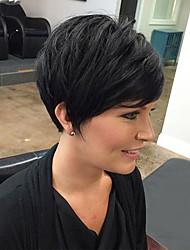 Peruca de cabelo humano preto cabelo macio fofo perfeito para todos os tipos de pessoas