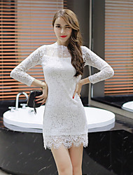Sexy women new tide autumn paragraph Slim package hip long-sleeved lace dress bottoming skirt long section