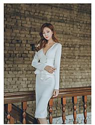 2017 mulheres coreanas novas ol temperamento v-pescoço flouncing magro pacote quadril carreira vestido duplo-breasted