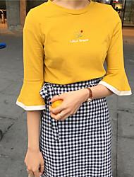 Los colores bordados ocasionales salvajes de la camiseta 2 de la manga del loto del nett ~ de la muestra 2 colores