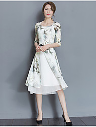 Women's Going out Vintage Swing Dress,Print Round Neck Midi ½ Length Sleeve Polyester Spring Summer Mid Rise Micro-elastic Medium