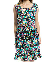 Women's Going out Casual/Daily Skater Dress,Floral Round Neck Above Knee Sleeveless Bamboo Fiber Summer Mid Rise Inelastic Thin