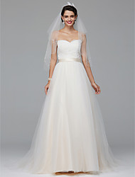 A-line Sweetheart Court Train Tulle Wedding Dress with Appliques