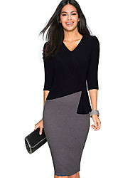 Women's Going out Casual/Daily Bodycon Dress,Solid V Neck Asymmetrical ¾ Sleeve Polyester Spring Summer High Rise Micro-elastic Medium