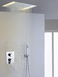 Contemporary Bathroom Shower Faucet Set / AC Energy Saving LED Bathroom Shower Head And Hand Shower Included / Concealed Easy-mount Box Mixer Valve