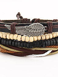 Bracelet Wrap Bracelet Leather Wings/Feather Gothic Vintage Special Occasion Gift Jewelry Gift Brown,1pc