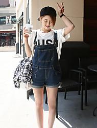 été une salopette en denim jambe large était mince pantalon chaud coréen short pièce harnais femme