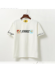 signe institut coréen de lettres col rond en vrac vent de Harajuku imprimé à manches courtes T-shirt femme étudiant chemise sauvage