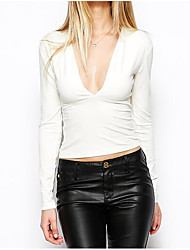* Senhoras europeias senhoras mesmo parágrafo sexy profundo v-neck mulheres de mangas compridas&# 39; s t-shirt slim